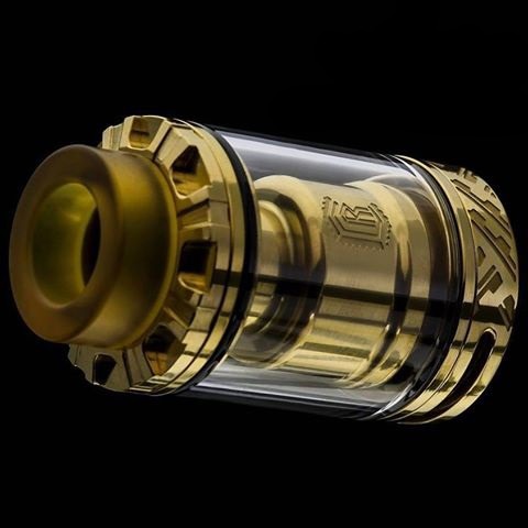 24mm diameter 17mm wide bore ultem drip tip goon/kennedy style drip tip compatable top fill postless deck design 304 ss construction/24k gold plated deck dual adjustable airflow single or dual coil capable 35mm in height with drip tip peek insulators easy to build 15mm x 1.5mm airflow slots reverse threaded 510 positive pin gold plated 510 positive pin